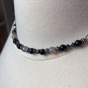 Genuine Blue Moonstone & Hematite Necklace